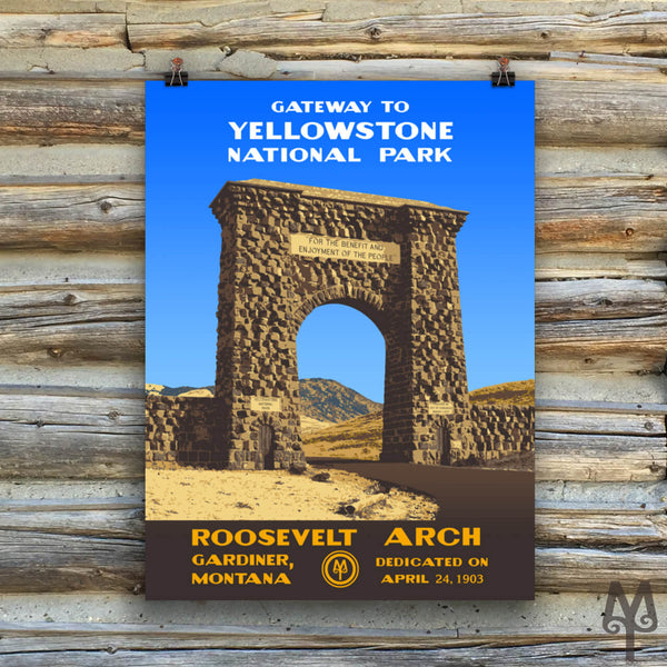 Yellowstone National Park, Roosevelt Arch, unframed poster