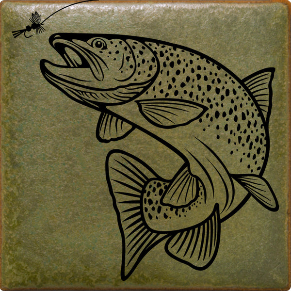 Rising Trout | Illustrated Wildlife Tile