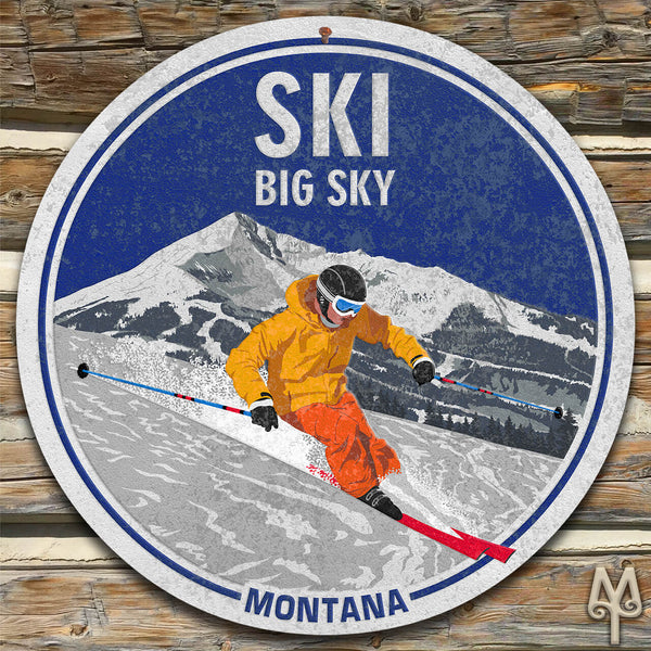 Vintage Ski Big Sky, Montana, Wall Sign