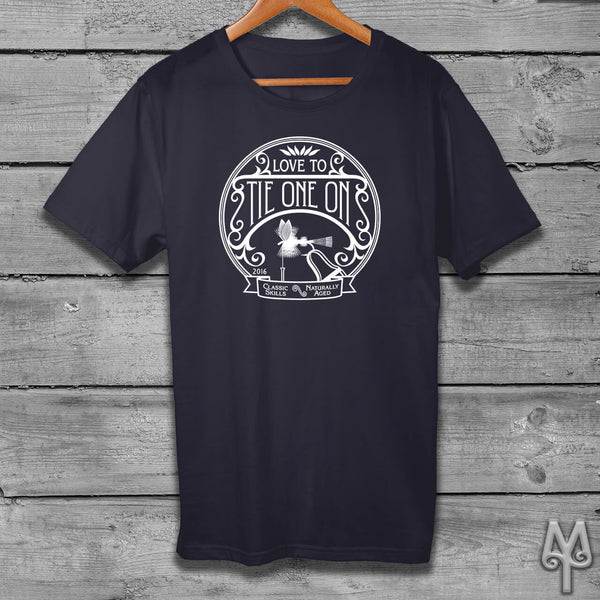 Tie One On, white logo t-shirt, Dark Navy