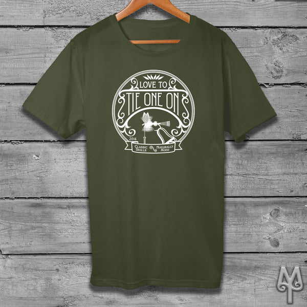 Tie One On, white logo t-shirt, Olive