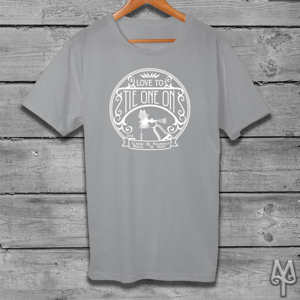 Tie One On, white logo t-shirt, Grey