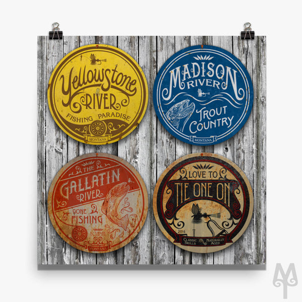 Fishing Montana Wall Signs, unframed poster