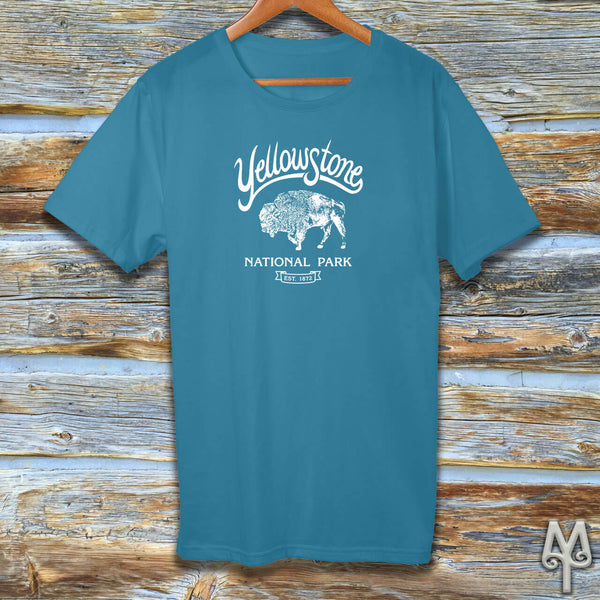 Yellowstone Bison, white logo t-shirt