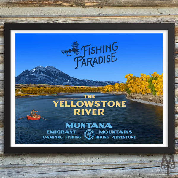 Yellowstone River, Fishing Paradise, new framed poster