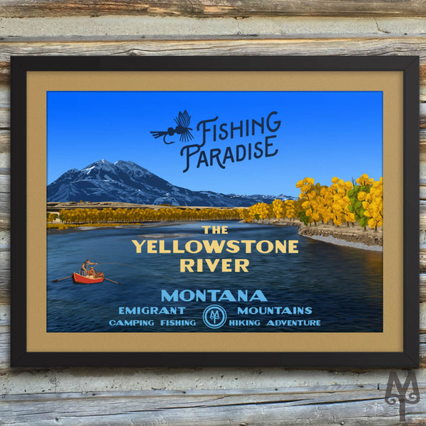 Yellowstone River, Fishing Paradise, new, matted, framed poster