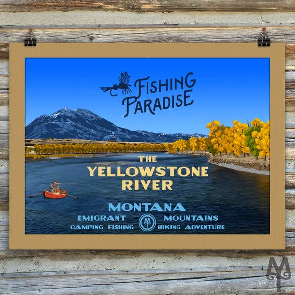 Yellowstone River, Fishing Paradise, new matted, unframed poster