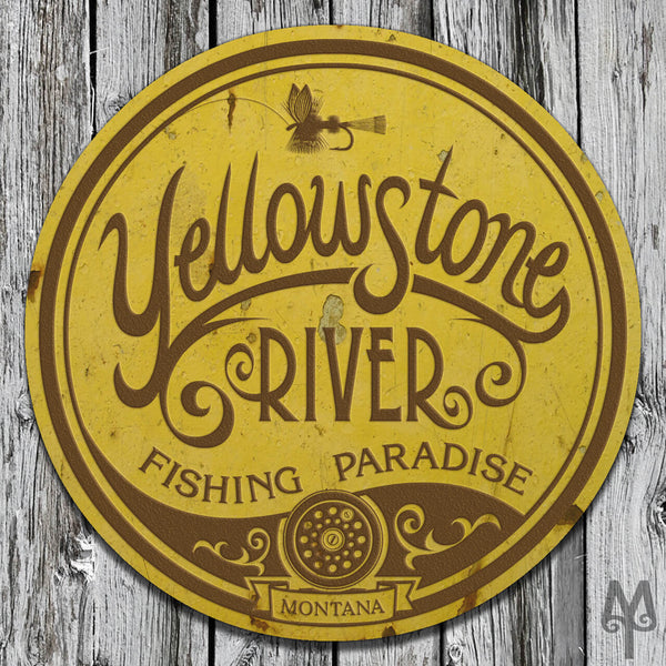 Vintage Yellowstone River, Wall Sign