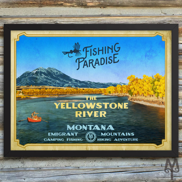 Yellowstone River, Fishing Paradise, vintage framed poster