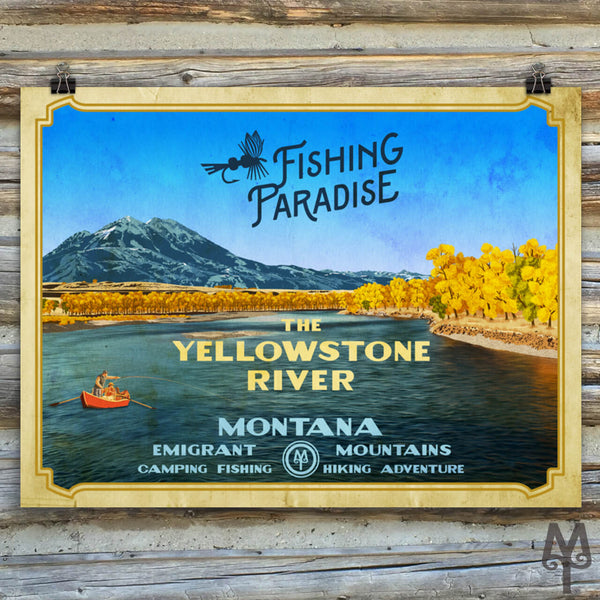 Yellowstone River, Fishing Paradise, vintage unframed poster
