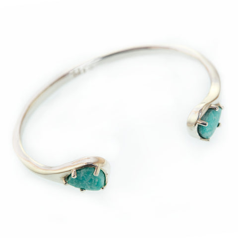 'Billie' Sterling Silver Cuff (with Amazonite)