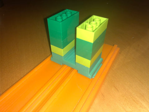 Hot Wheels to LEGO Brick Dual Track Adapter 3D Printed