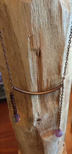 Copper and Crystal Minimalist Necklace