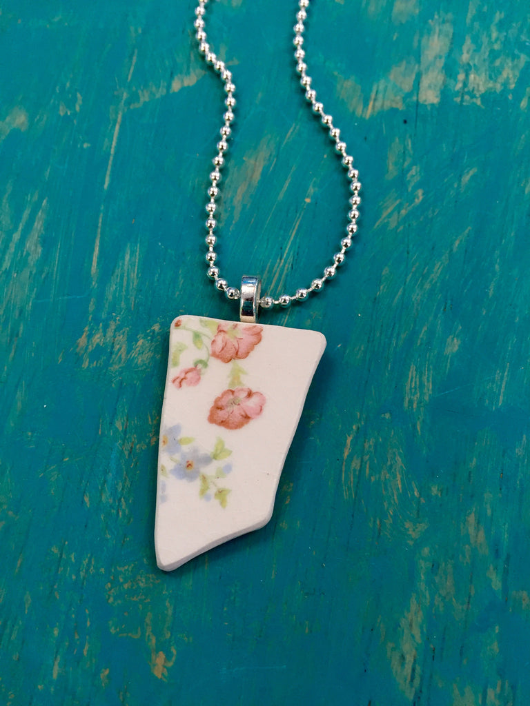 Floral Broken Plate Ceramic Necklace