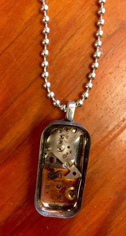 "Steampunk Watch Piece Pendant ""Contained Deconstruction"""