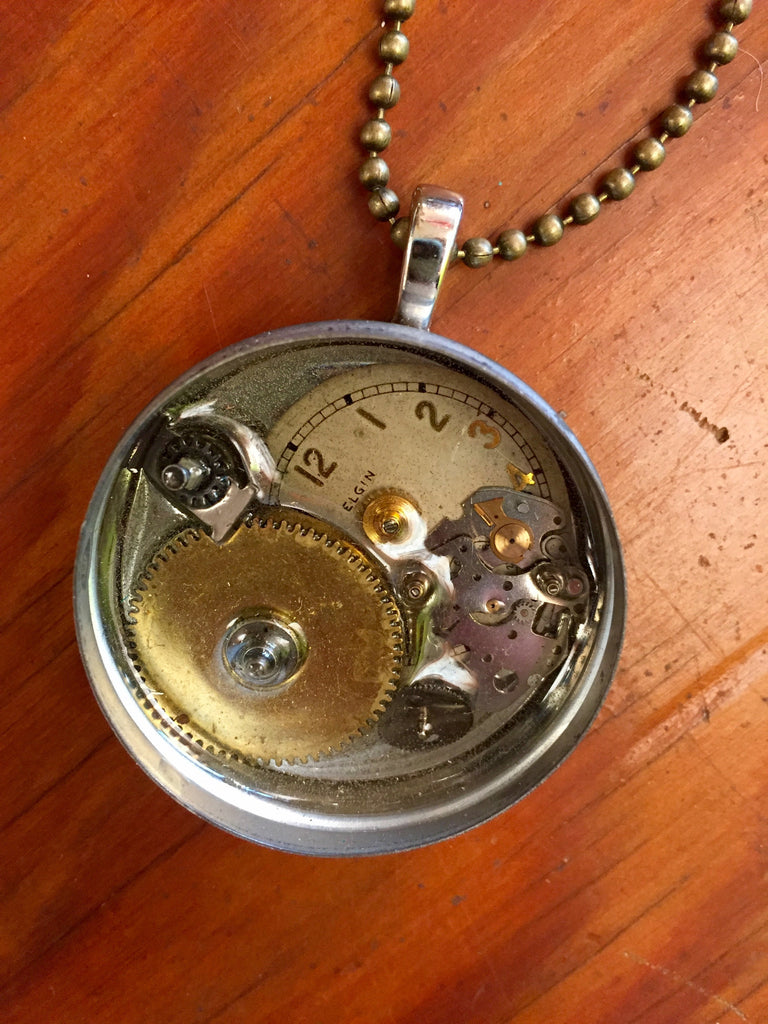 Steampunk Vintage Watch Piece Necklace