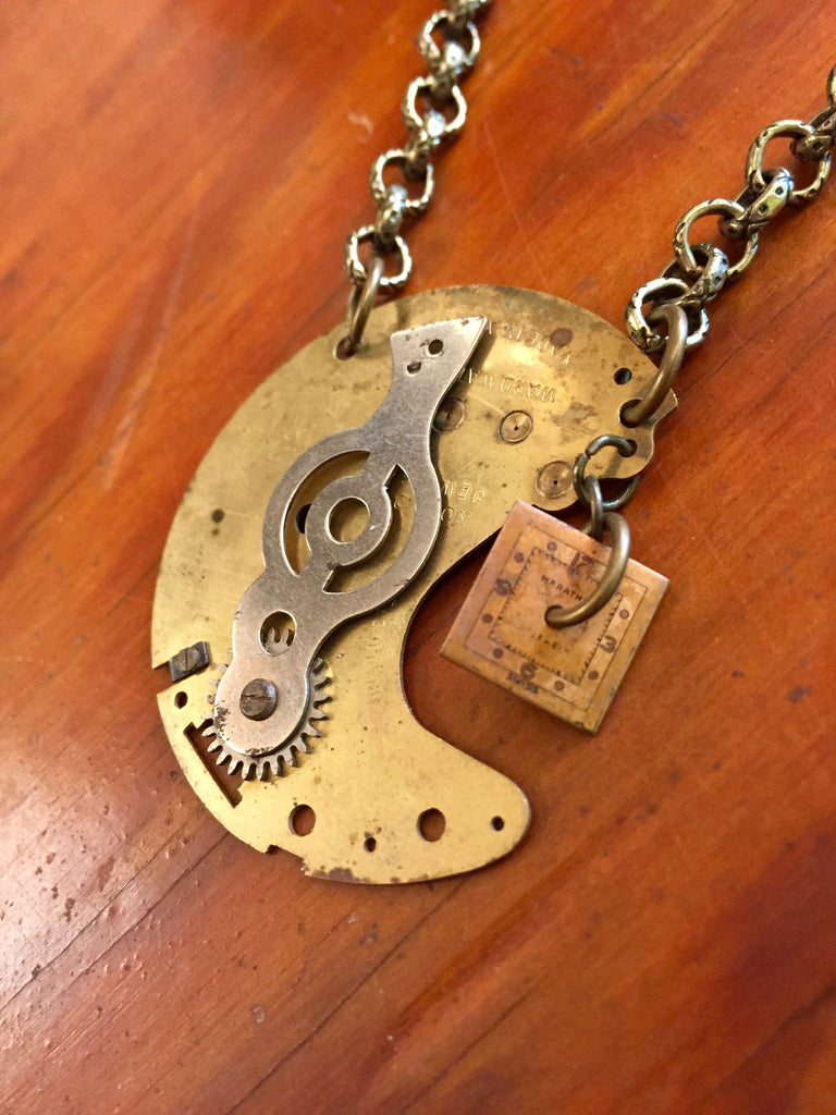 "Steampunk Watch Piece Pendant ""Man in the Moon"""
