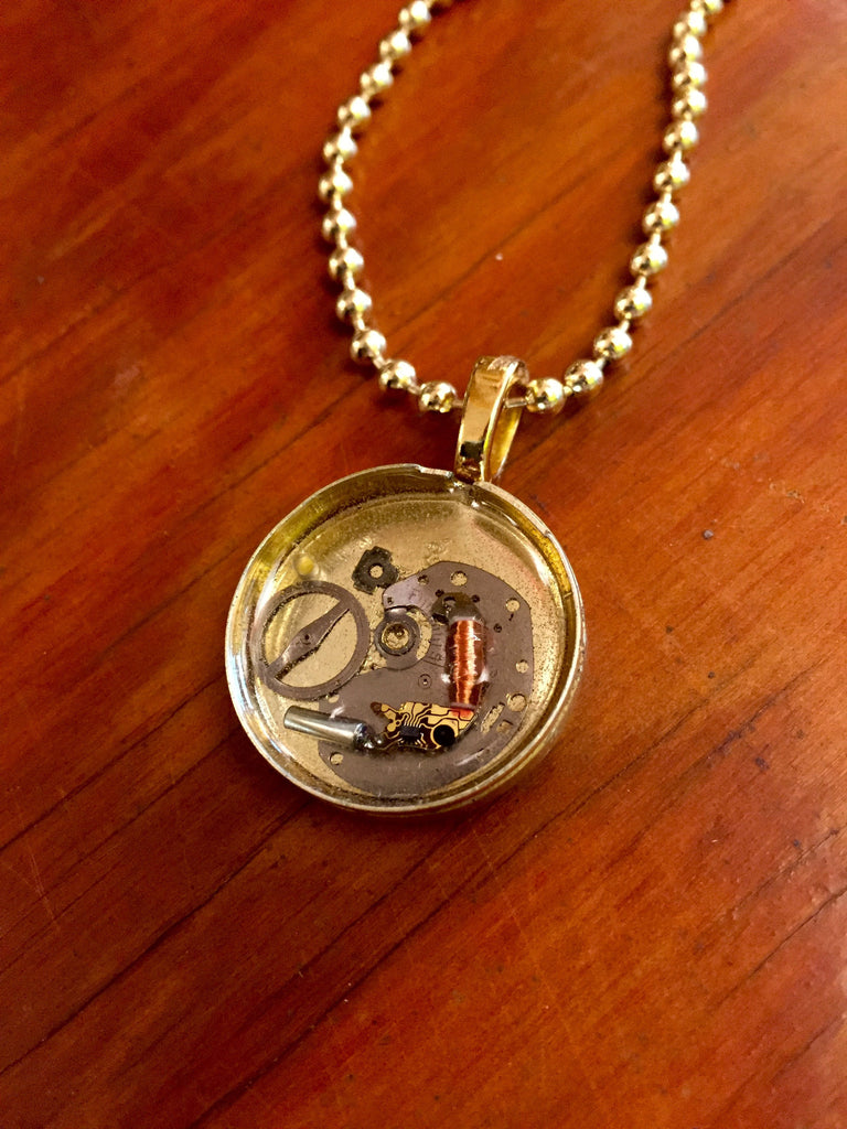 Steampunk Watch Piece Gold Necklace