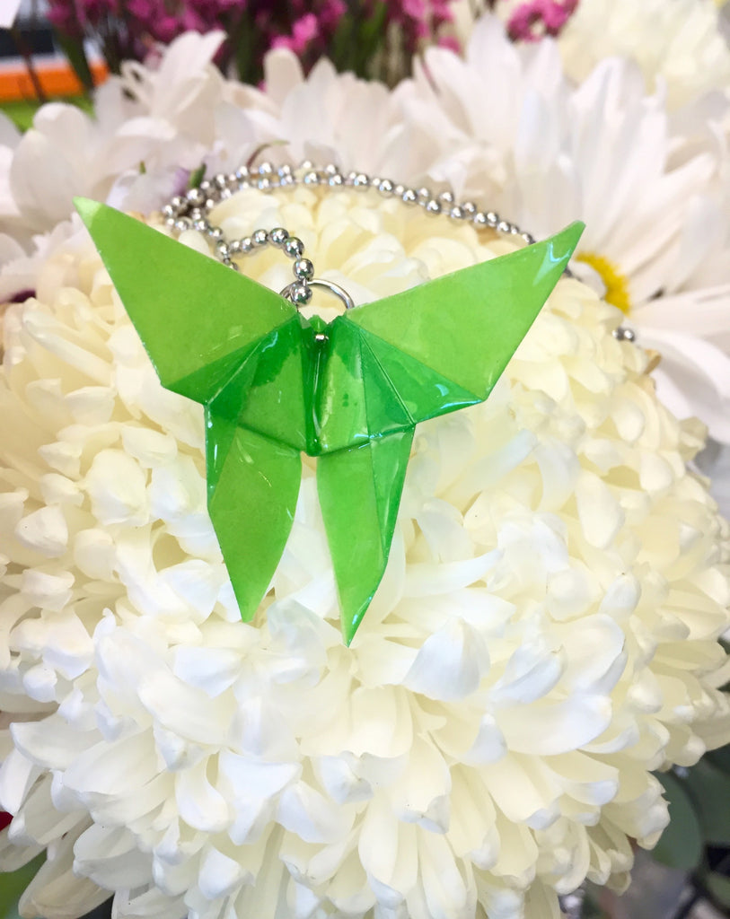 Origami Butterfly Necklace Spring Green
