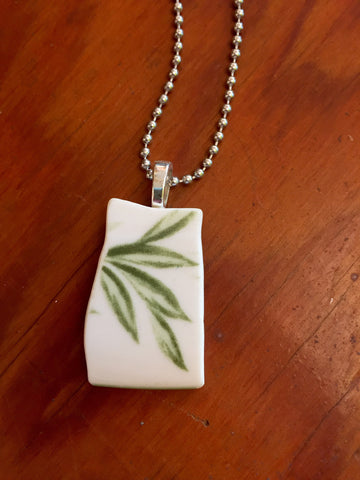 Bamboo Leaf Broken Plate Ceramic Necklace