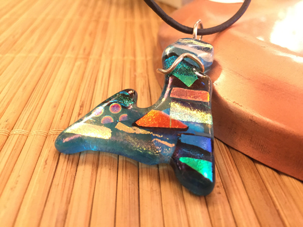 dreams clear pendant shop glass in stripes iridized with jewelry s pendants purple anne aqua fused blue