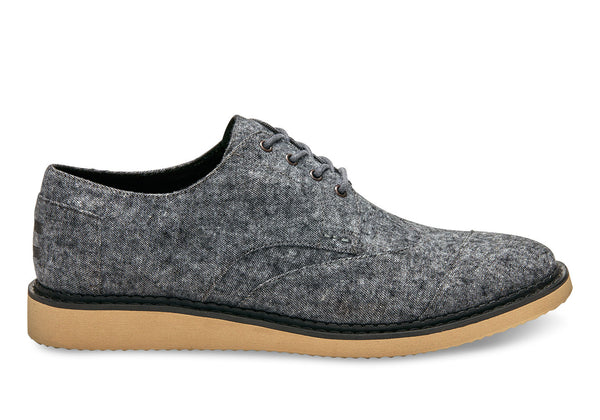 Grey Slub Textile Men's Brogues