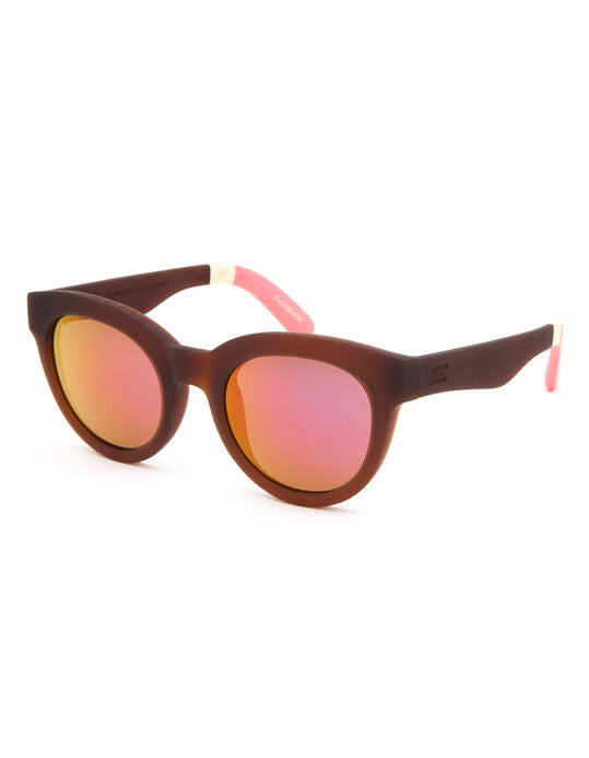 TRAVELER FLORENTIN MATTE SUNGLASSES BROWN/PINK MIRROR