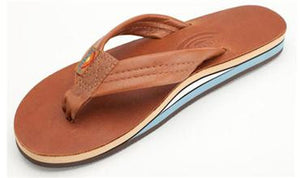 Rainbow Sandals 302ALTS Double Layer Classic Leather with Arch Support Womens Tan Blue | Rainbow | S |