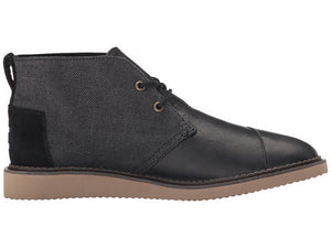 Mateo Chukka Black Leather/Herringbone | TOMS | 8 |