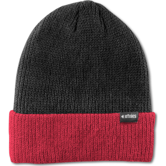 WAREHOUSE BLOCK BEANIE BLACK/RED