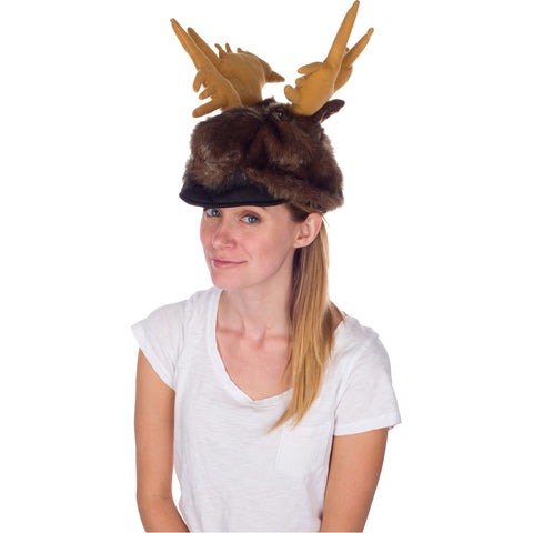 Moose Animal Animal Hat, Realistic Plush Costume Headwear - One Size