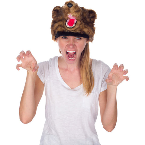 Rittle Furry Brown Grizzly Bear Animal Hat, Realistic Plush Costume Headwear - One Size