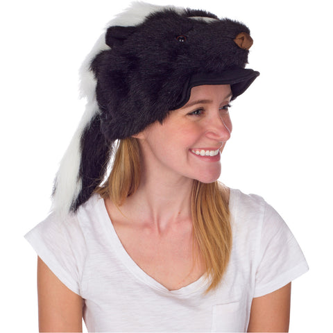 Rittle Furry Skunk Animal Hat, Realistic Plush Costume Headwear - One Size