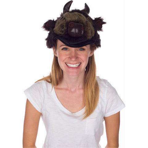 Rittle Furry Buffalo (Bison) Animal Hat, Realistic Plush Costume Headwear - One Size