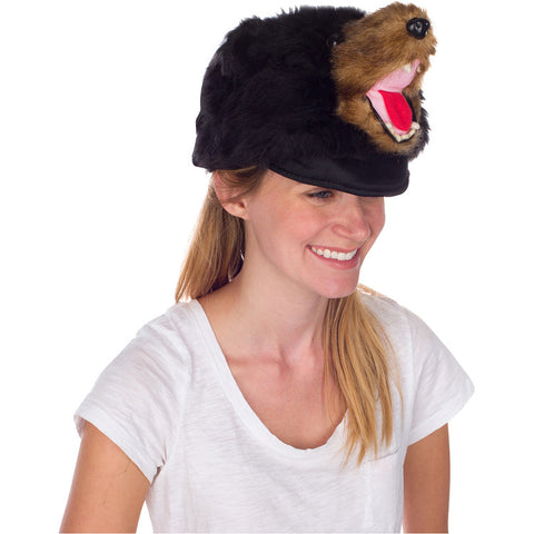 Rittle Furry Black Bear Animal Hat, Realistic Plush Costume Headwear - One Size