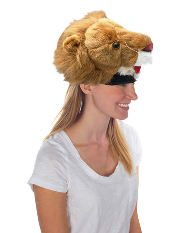 Lion Animal Hat, Realistic Plush Costume Headwear - One Size