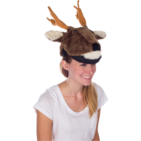 White-tailed Deer Animal Hat, Realistic Plush Costume Headwear -One Size