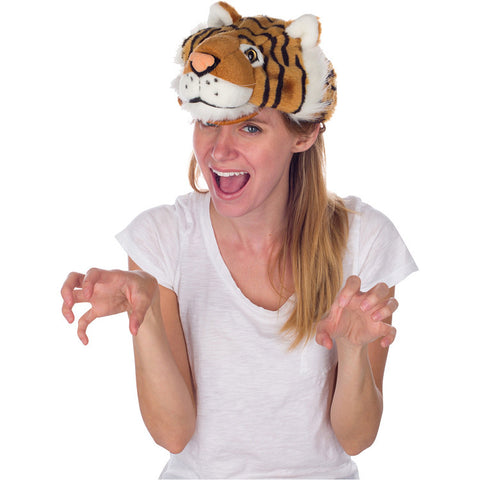 Rittle Furry Tiger Animal Hat, Realistic Plush Costume Headwear - One Size