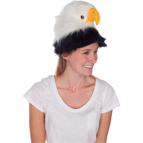 Rittle Furry Bald Eagle Animal Hat, Realistic Bird Plush Costume Headwear - One Size
