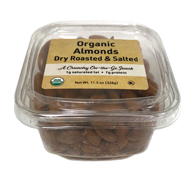 Organic Dry Roasted Almonds (Salted), 11.5 oz Container - 12 Pack