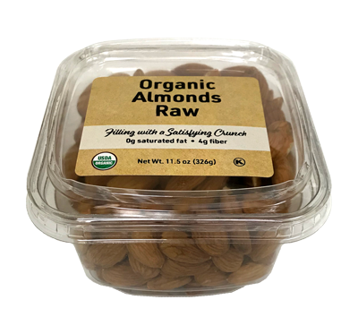 Organic Almonds Raw (No Shell), 11.5 oz Container - 12 Pack