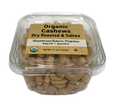 Organic Dry Roasted Cashews (Salted), 11.5 oz Container - 12 Pack