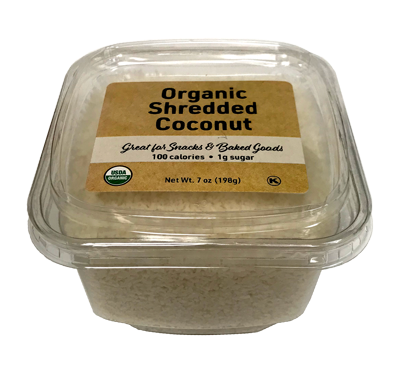 Organic Shredded Coconut (Unsulphured), 7 oz Container - 12 Pack