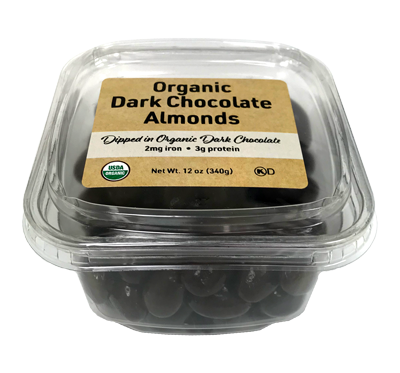 Organic Dark Chocolate Covered Almonds, 12 oz Container - 12 Pack