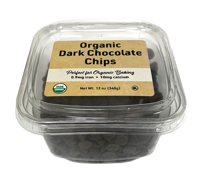 Organic Dark Chocolate Chips, 12 oz Container - 12 Pack