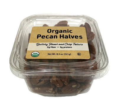 Organic Pecan Halves, 8.5 oz Container - 12 Pack