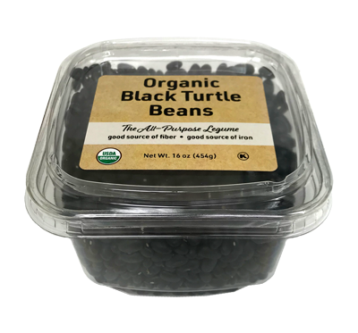 Organic Black Turtle Beans, 16 oz Container - 12 Pack