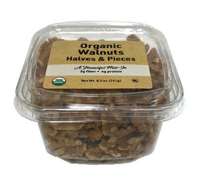 Organic Walnuts Halves & Pieces, 6.5 oz Container - 12 Pack