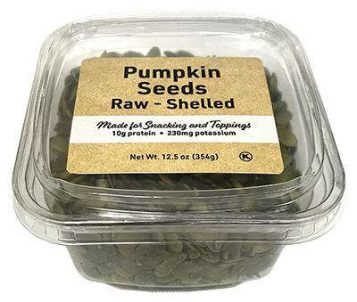 Raw Pumpkin Seeds - No shell (Pepitas) USA Grown, 12.5 oz Container - 12 Pack