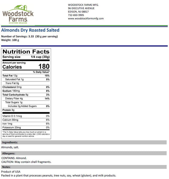 Almonds Dry Roasted & Salted Nutritional Facts | Woodstock Farms